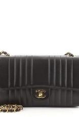 Wyld Blue Vintage Chanel Black Lambskin Vertical Flap Bag