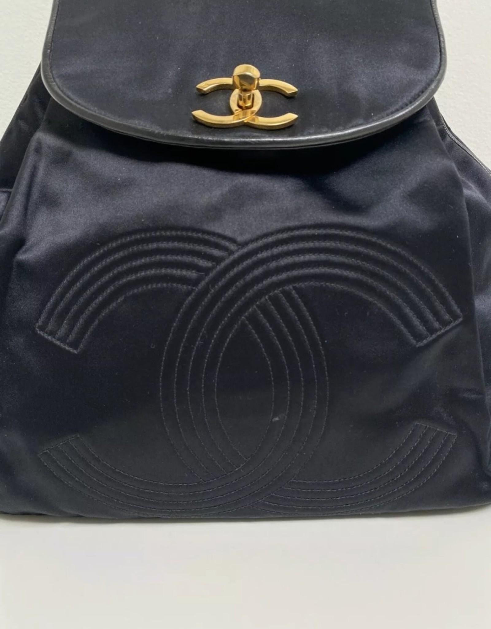 Wyld Blue Vintage Chanel Black Satin Backpack