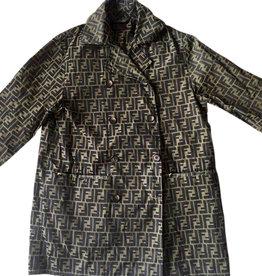 Wyld Blue Vintage Fendi Zucca Print Unisex Brown Black Maxi Trench Dress Coat (Sz M/L)