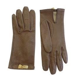 Hermes Brown Lambskin Gloves