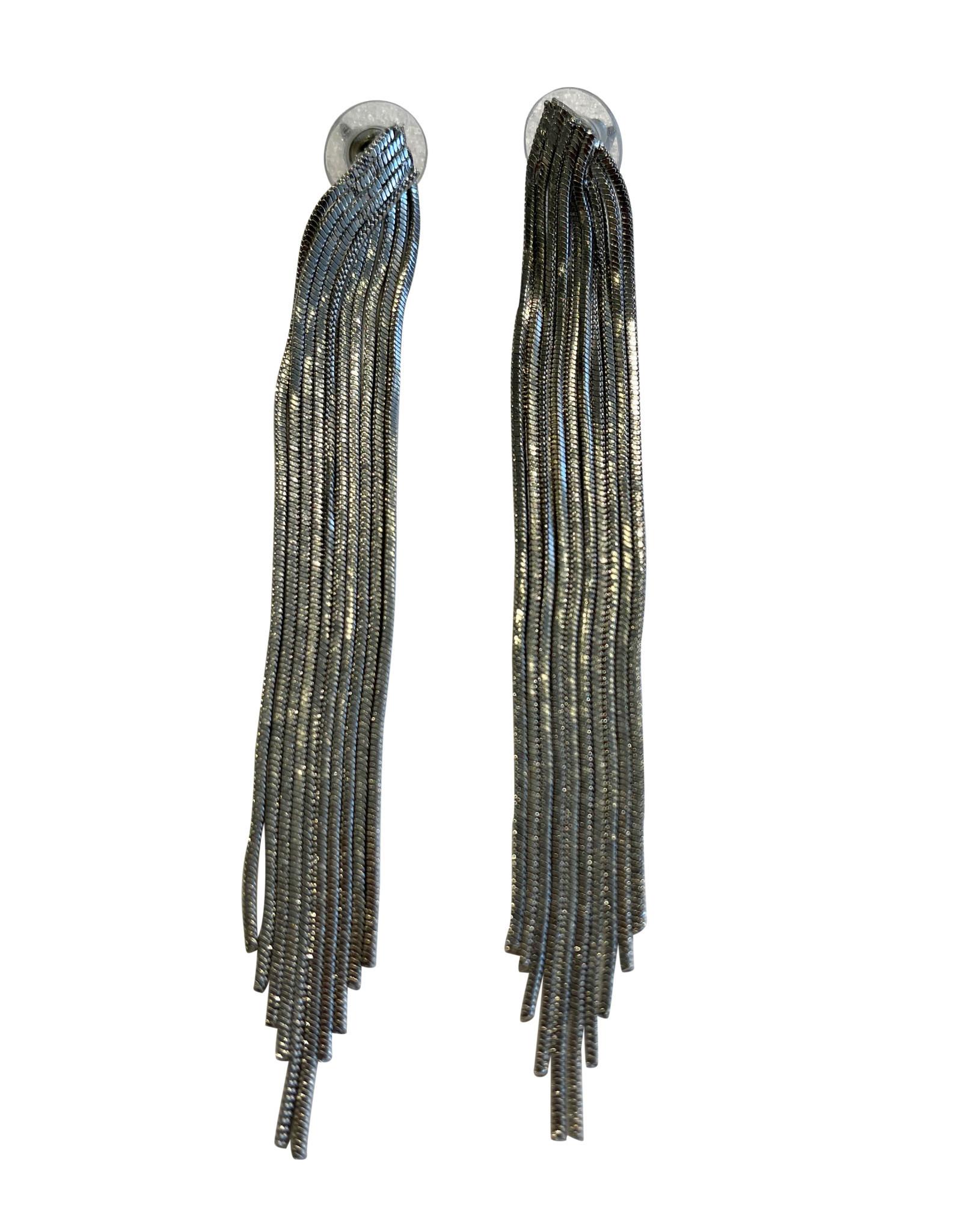 Wyld Blue Silver Tassel Earrings