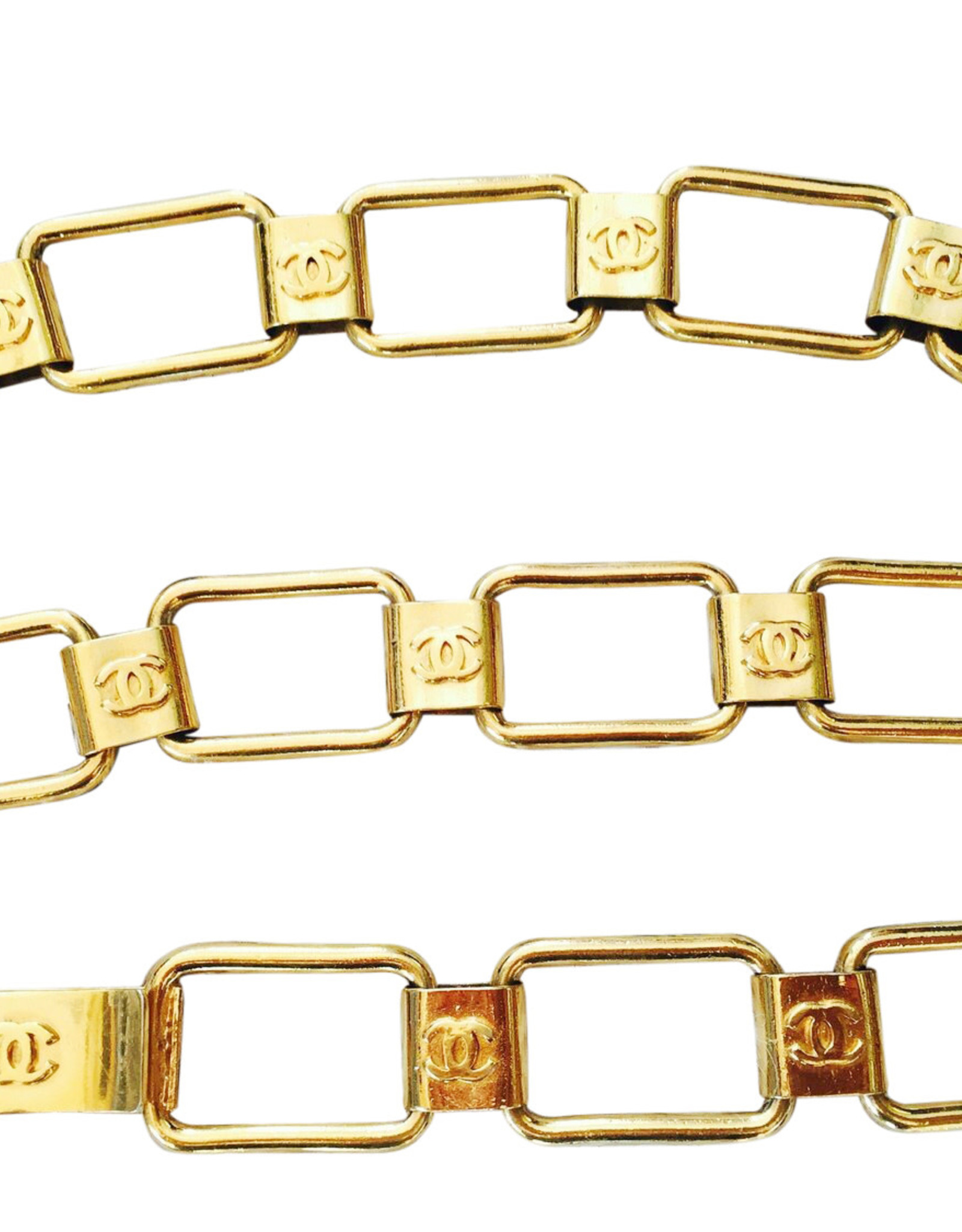 "Wyld Blue Vintage Chanel 80s CC Logo Monogram Gold Chain Waist Belt Buckle Necklace ( 24""-27"")"