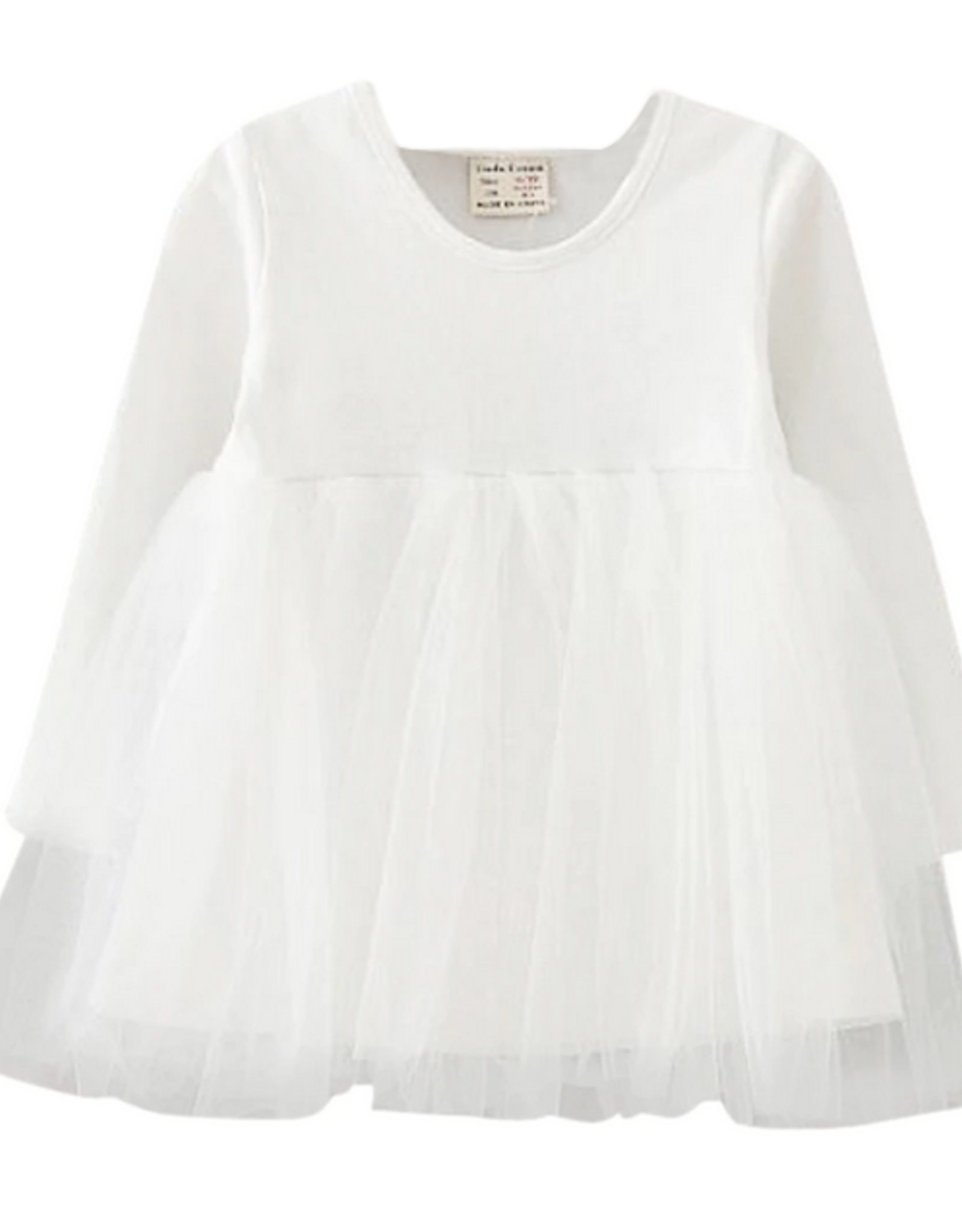 Wyld Blue Kids Longsleeve White Tutu Dress
