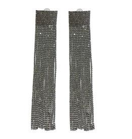 Wyld Blue Rectangle Crystal Tassel Earrings