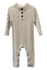 Wyld Blue Kids Cream Knit Detail Fuzzy Collar Onesie with Buttons