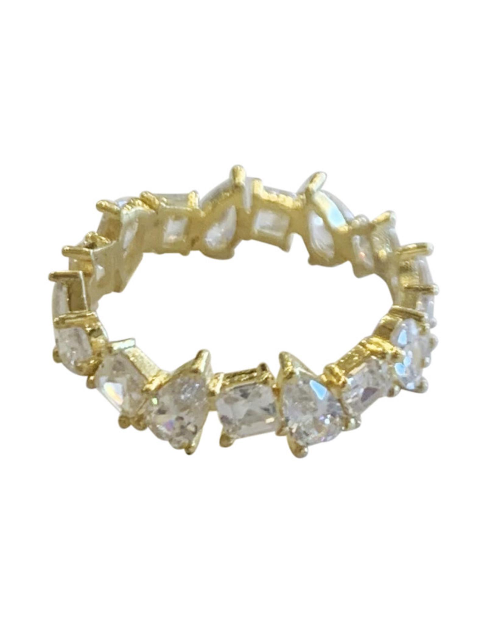Wyld Blue Gold Crystal Gem Multi Shape Ring