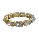 Wyld Blue Thin Crystal Gem Ring Gold