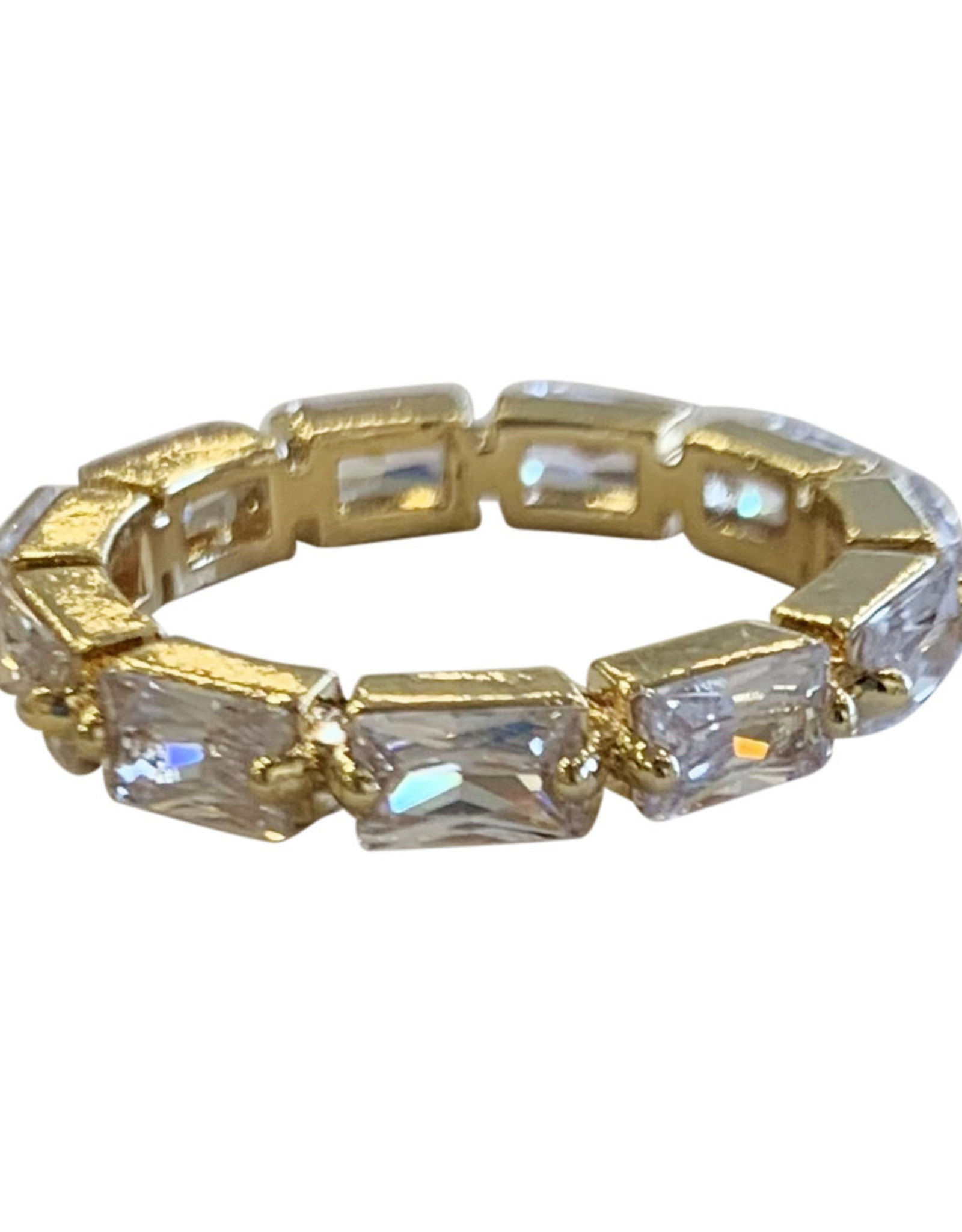 Wyld Blue Thin Crystal Gem Ring Gold