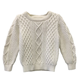 Wyld Blue Kids White Cable Knit Sweater 18-24m