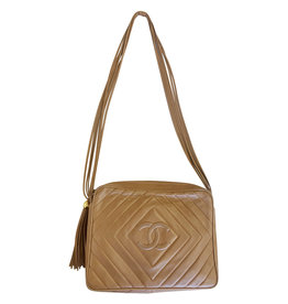 Wyld Blue Vintage Chanel Quilted Milk Chocolate Tassel Bag