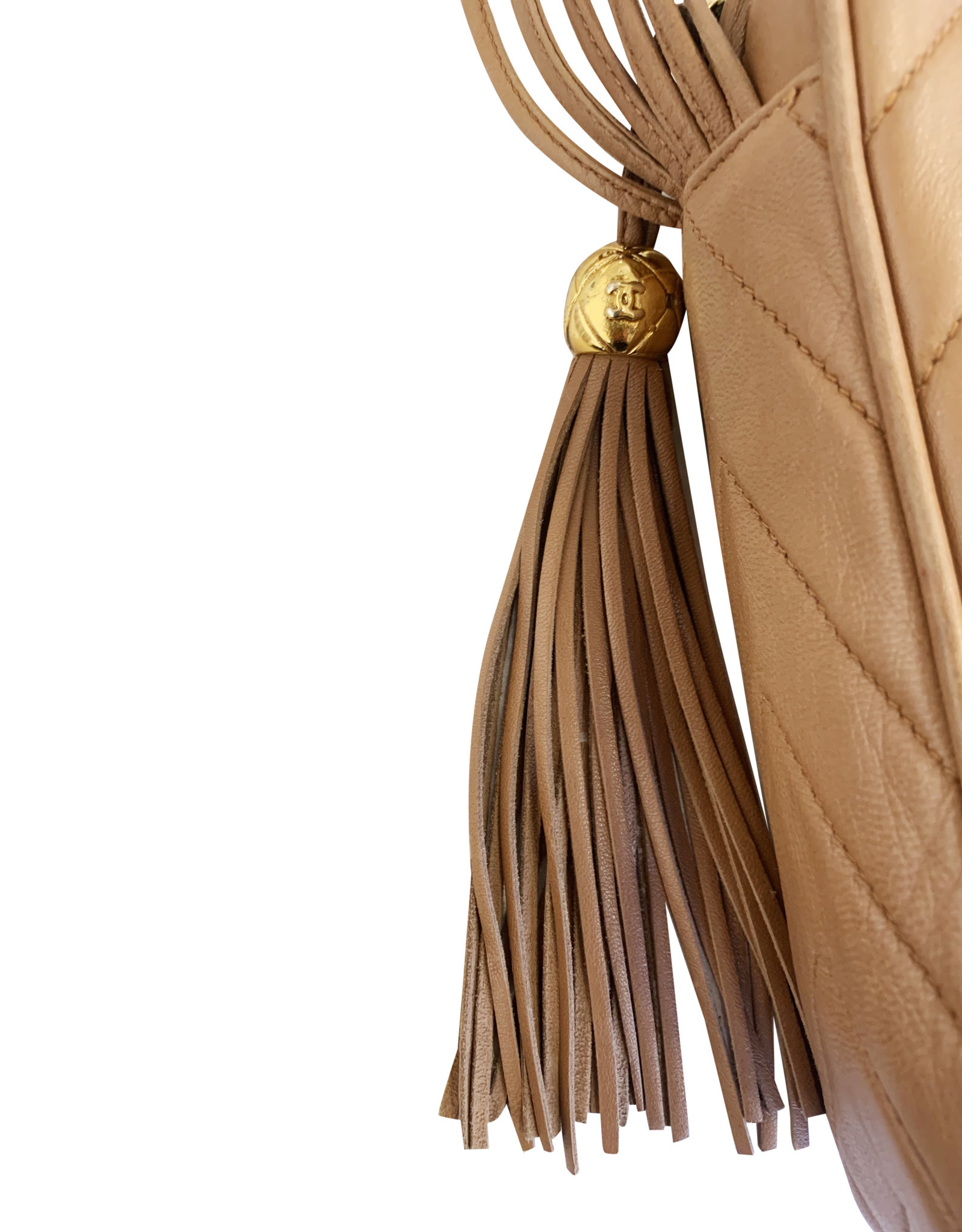 Wyld Blue Vintage Chanel Quilted Milk Chocolate Tassel Bag