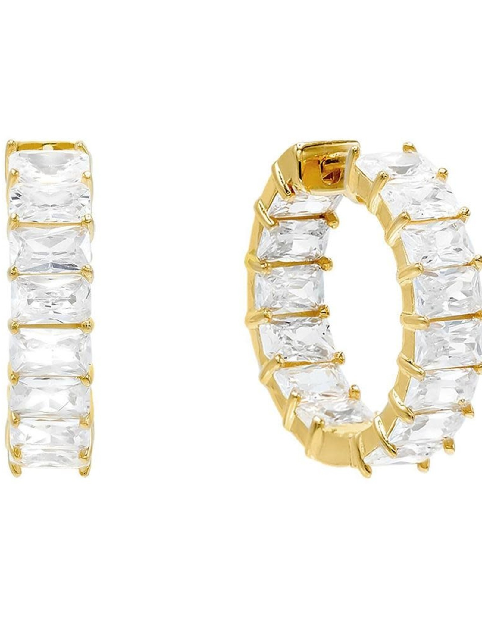 Adinas Gold Baguette Hoop Earrings