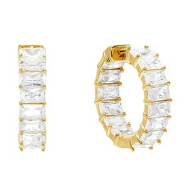 Adinas Gold Baguette Hoop Earrings