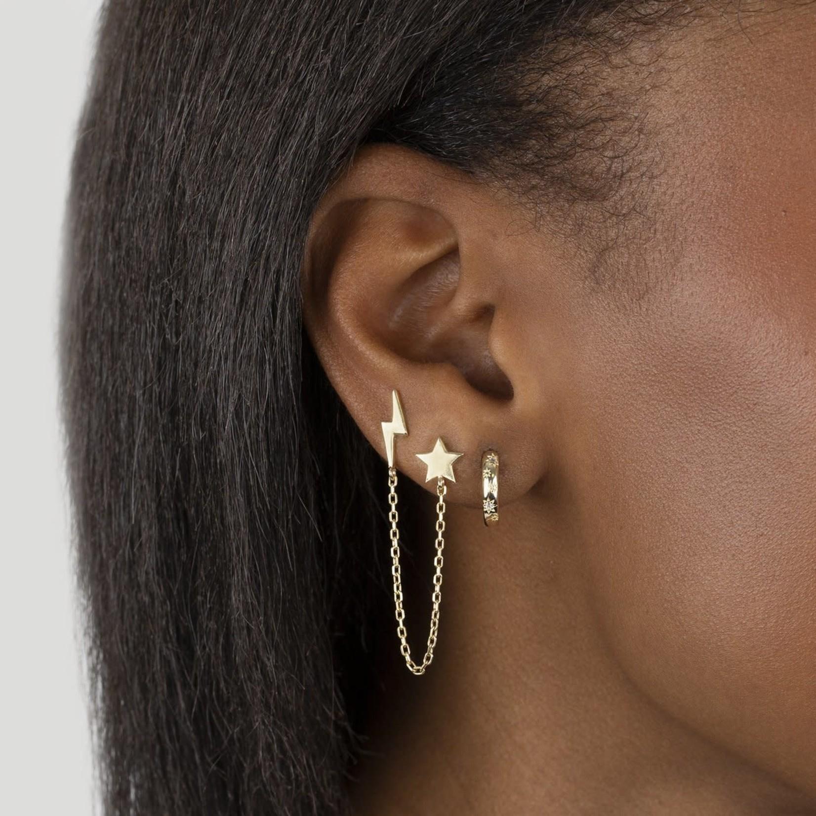 Adinas Solid Star X Lightning Chain Stud Earring