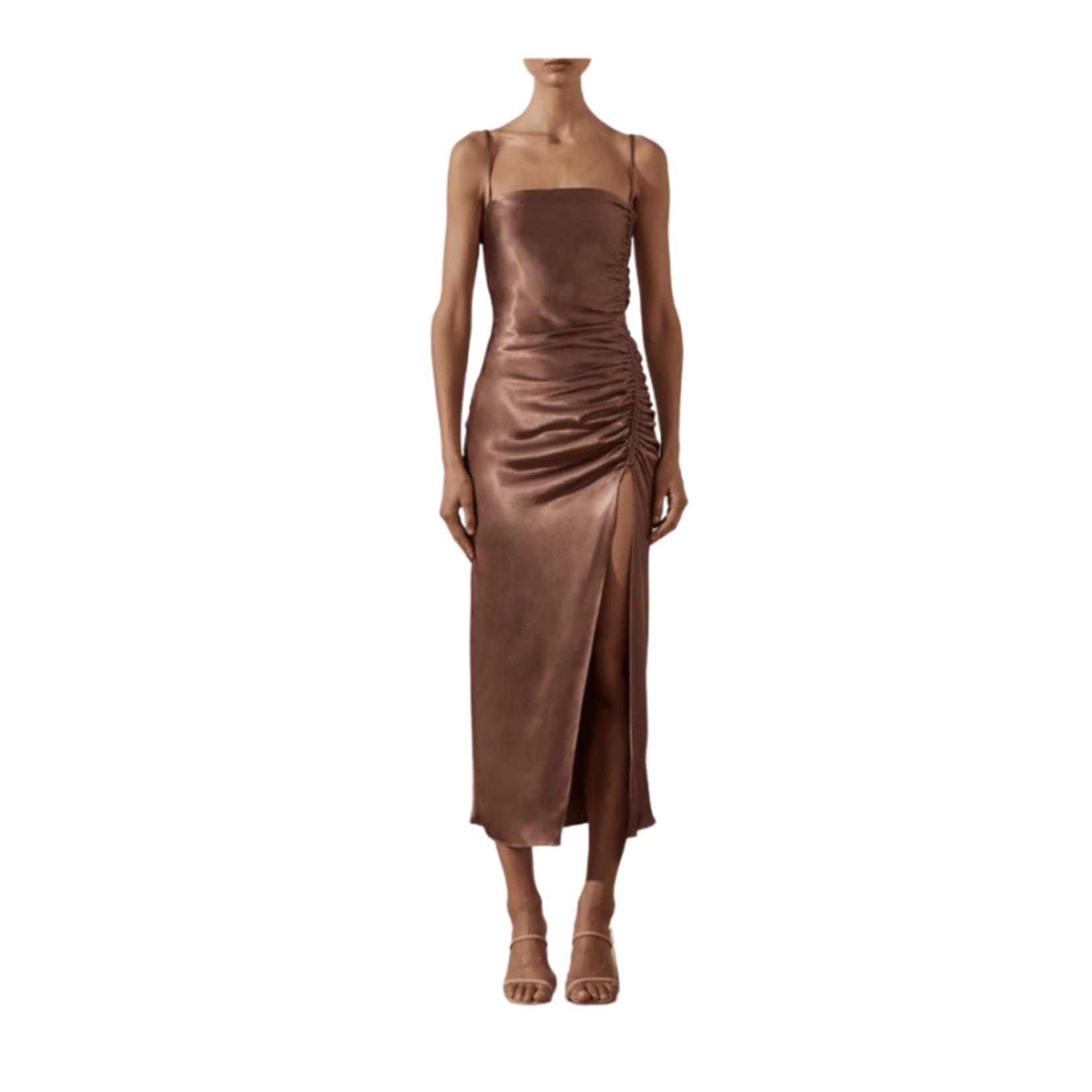 SHONA JOY Lily Bias Ruched Midi Dress
