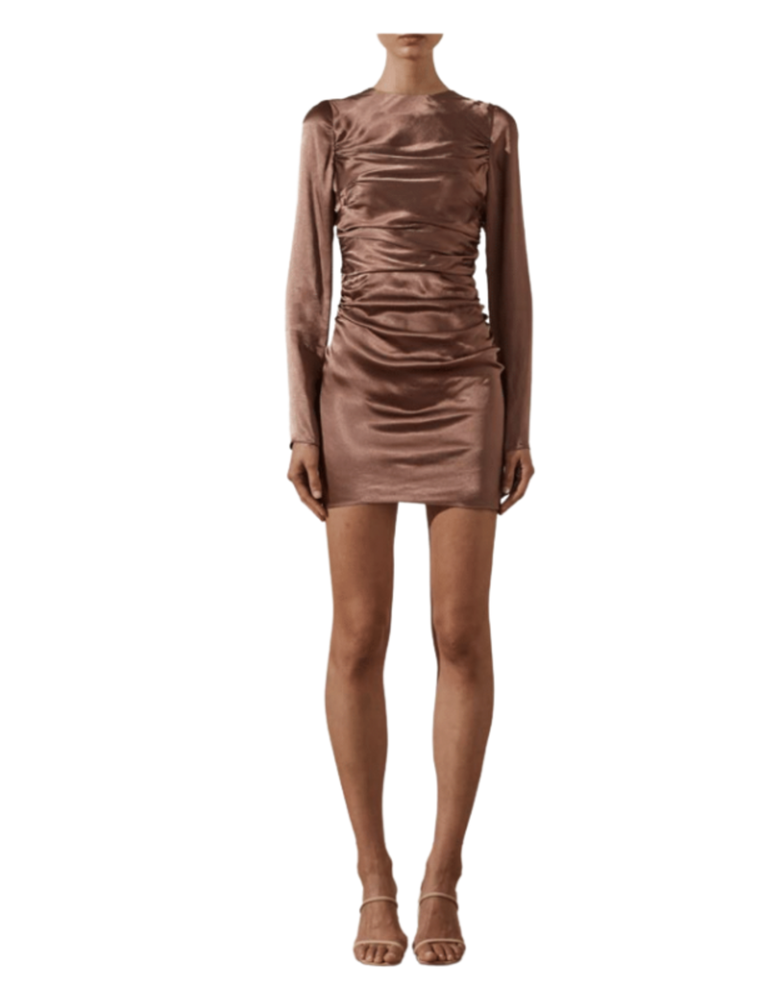 SHONA JOY Lily Long Sleeve Ruched Mini Dress