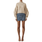 SHONA JOY Piper Cocoon Sleeve High Neck Cable Jumper Oatmeal