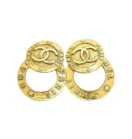 Chanel Chanel Hammered Deux Earrings (1991 Vintage)