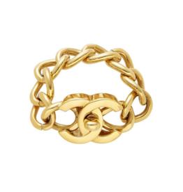 Wyld Blue Vintage Chanel Chunky Turnlock Bracelet Gold 2