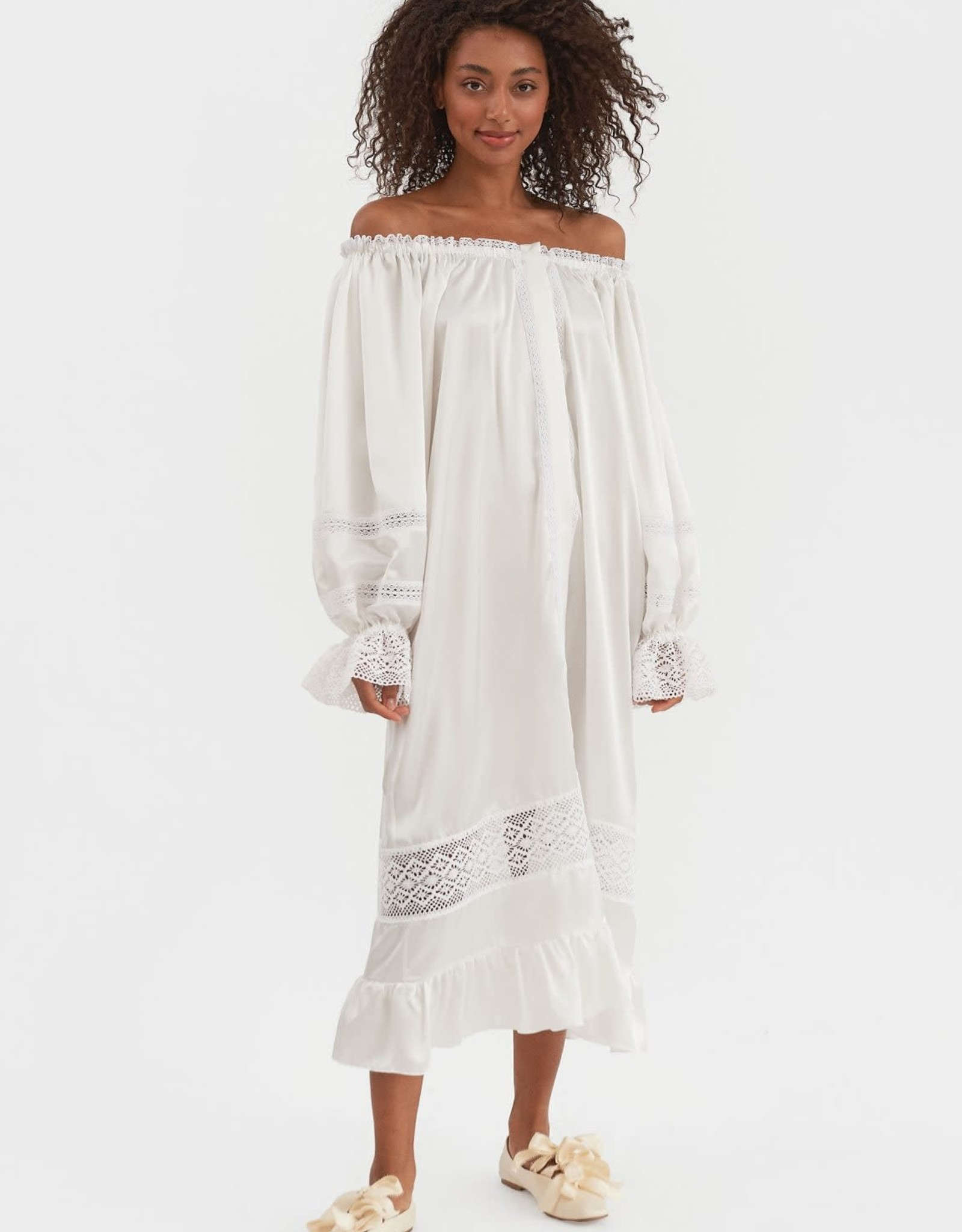 The Sleeper Paloma Silk Dress Pearl White (OS)