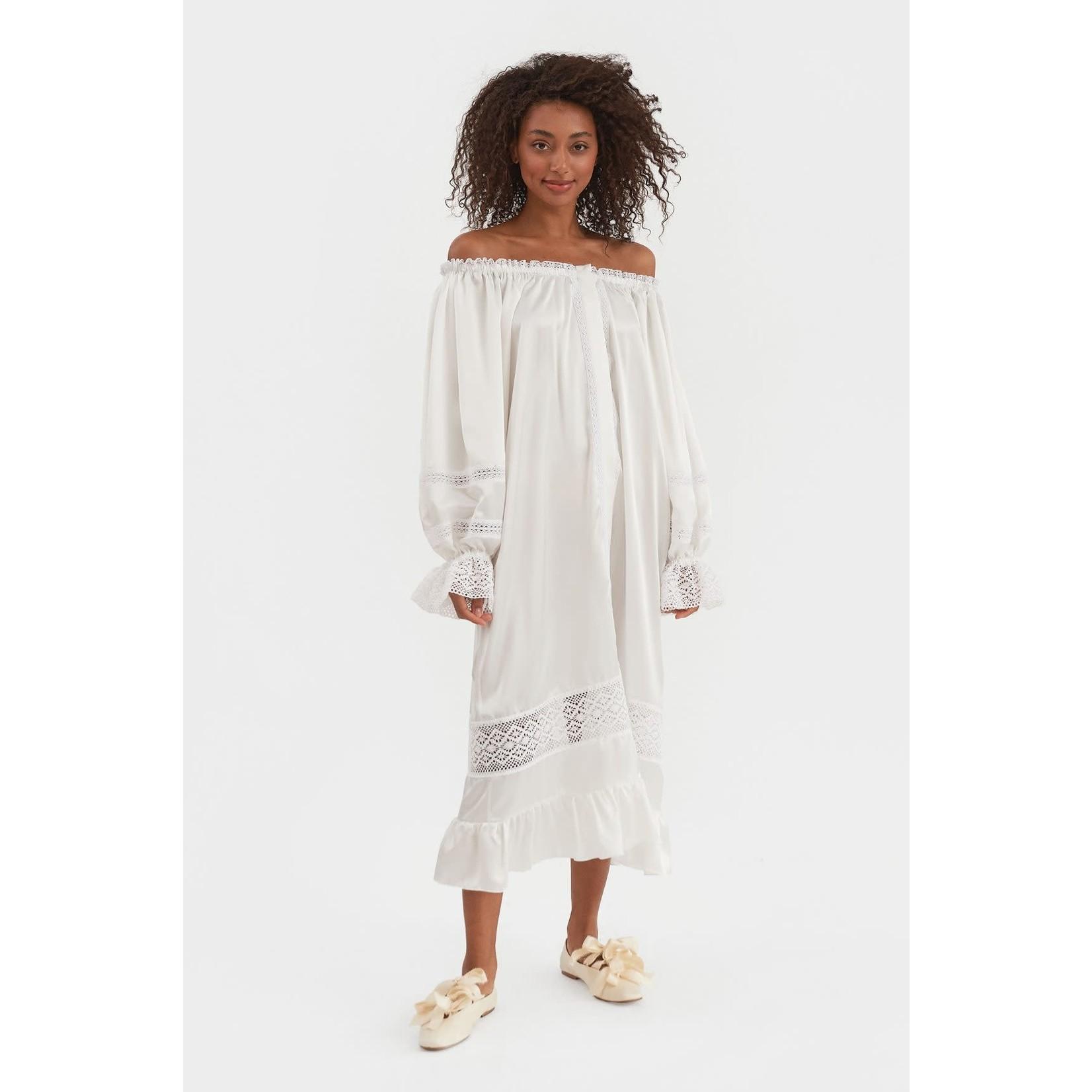 The Sleeper Paloma Silk Dress Pearl White (OS)
