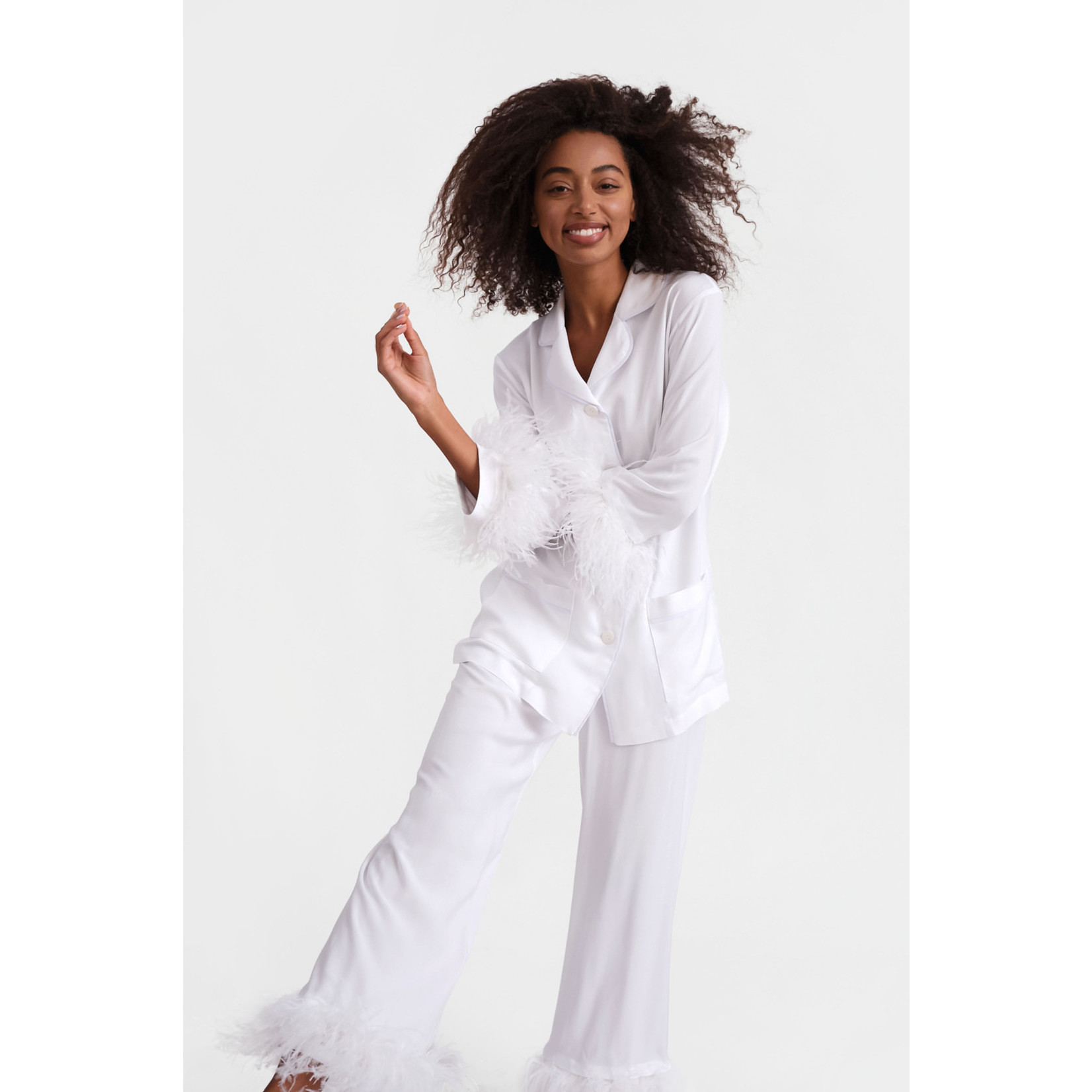 The Sleeper Party Pajama Set with Double Feathers White