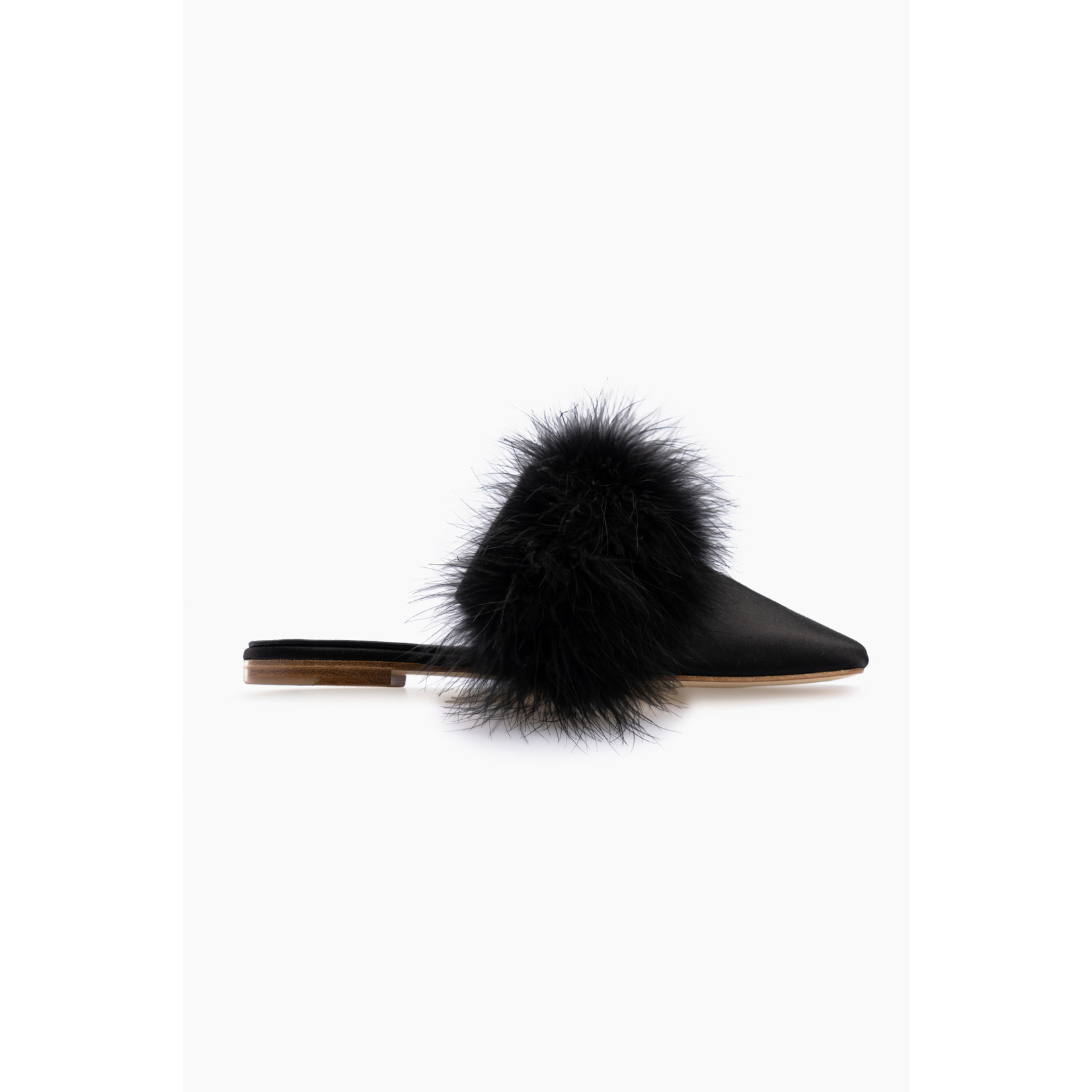 The Sleeper Manon Mules with Detachable Feathers Black