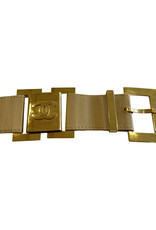 Wyld Blue Vintage 90s Chanel Gold CC Logo Beige Leather Belt Buckle (Sz S/M)
