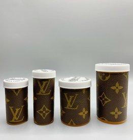 Sarah Coleman Designer Brown Monogram Pill Bottle XL