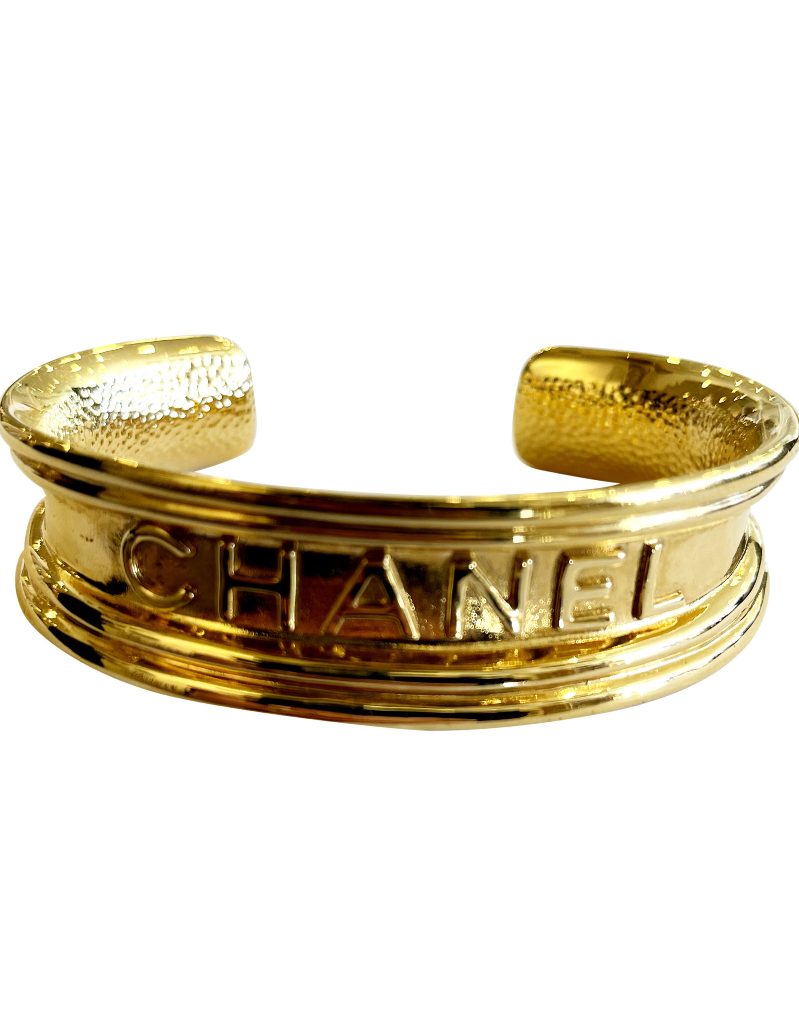 Wyld Blue Vintage Chanel Paris Logo Script Monogram Gold Bangle Cuff