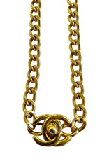Wyld Blue Vintage Chanel Small Turnlock Gold CC Necklace
