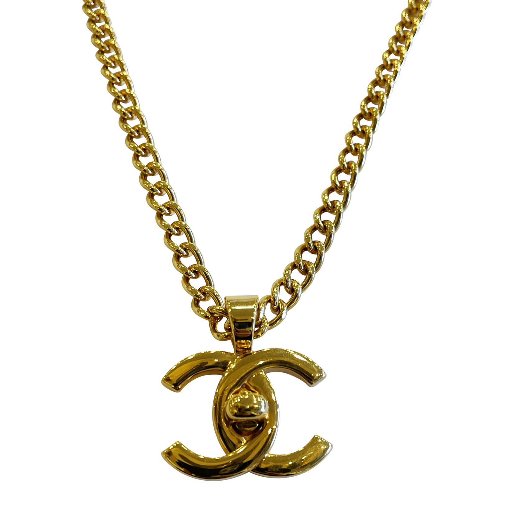 Wyld Blue Vintage Chanel Turnlock Pendant Necklace 2