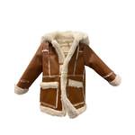 Wyld Blue Kids Chestnut Fur Lined Leather Coat