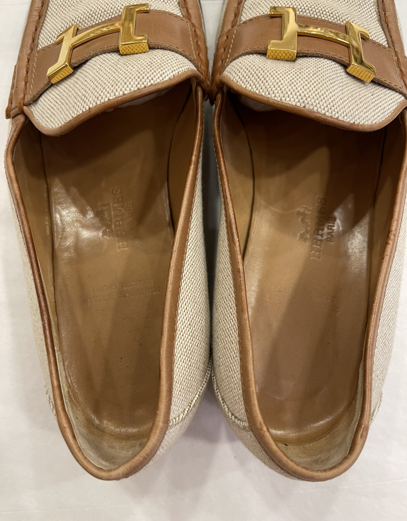 Wyld Blue Vintage Hermes H Logo Canvas Brown leather Loafers