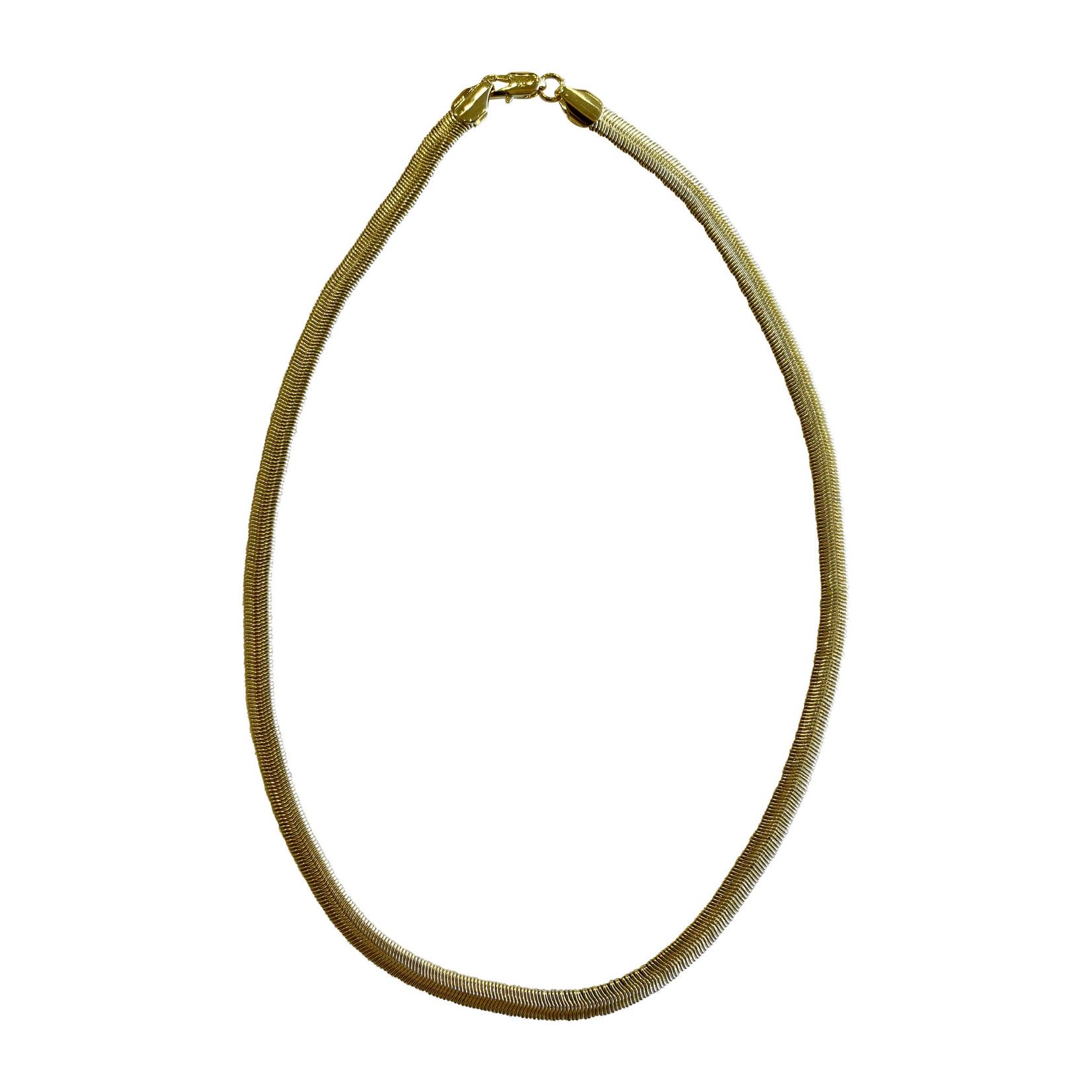 Wyld Blue Yellow Gold Herringbone Necklace