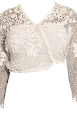 Wyld Blue Vintage 1970s White Cotton Hand Made Irish Crochet Cardigan