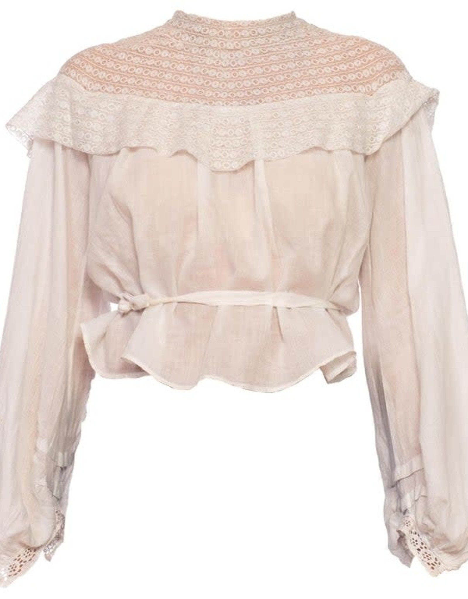 Wyld Blue Vintage White Cotton Voile & Tape Lace Swan Neck Blouse with Bishop Sleeves