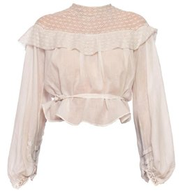 Wyld Blue Vintage White Cotton Voile & Tape Lace Swan Neck Blouse with Bishop Sleeves WLT7ON0436