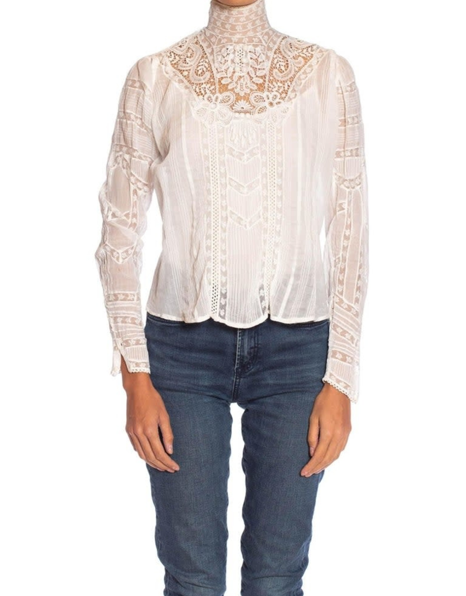 Wyld Blue Vintage Victorian White Organic Cotton Voile & Floral Lace Swan Neck Blouse w Irish Crochet Styled Details WLT9ON36002