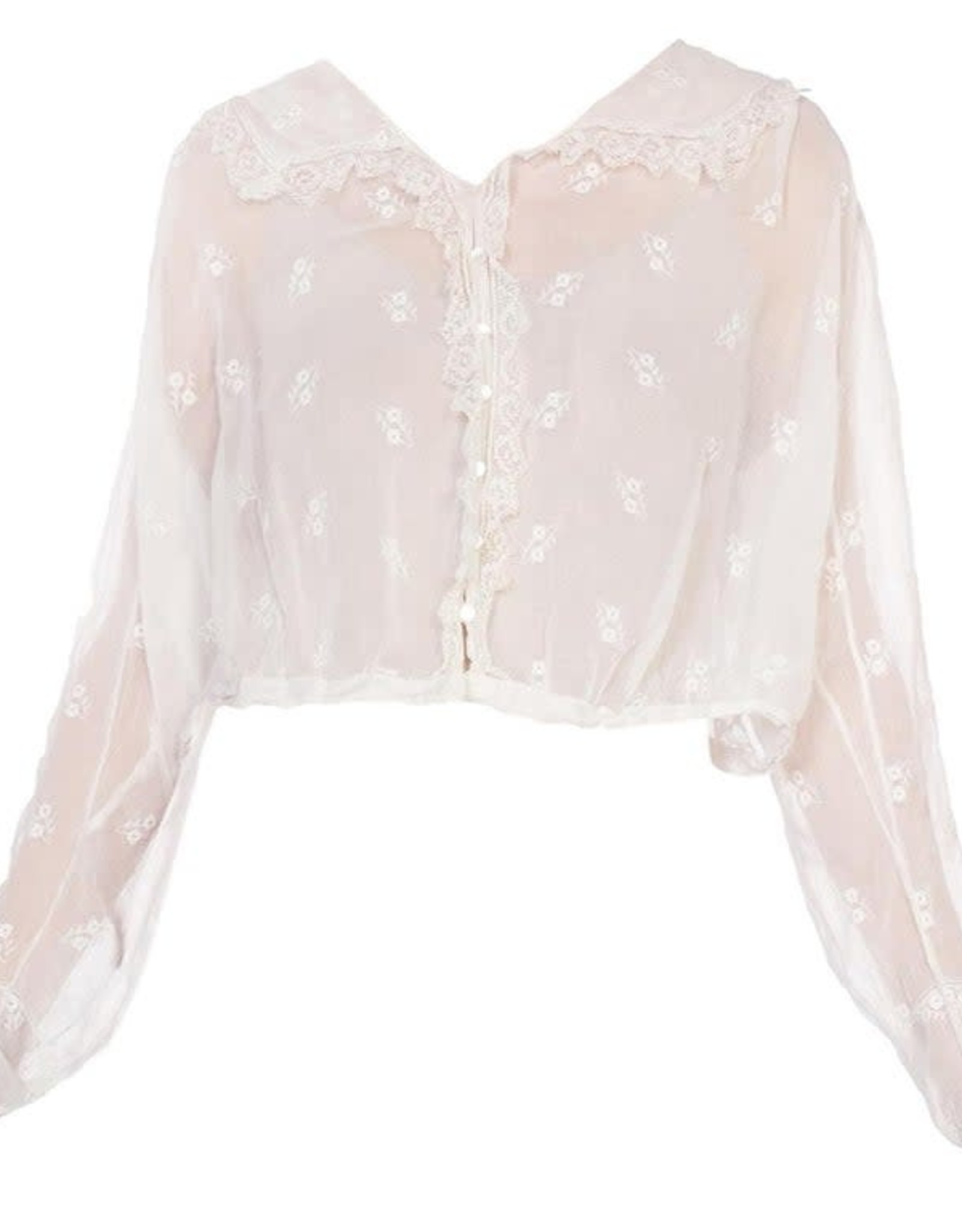 Wyld Blue Vintage Edwardian White Cotton Voile Floral Embroidered Button Front Suffragette Blouse with Lace Trim