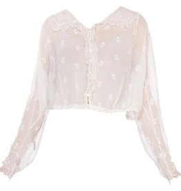 Wyld Blue Vintage Edwardian White Cotton Voile Floral Embroidered Button Front Suffragette Blouse with Lace Trim WLT8ON0388