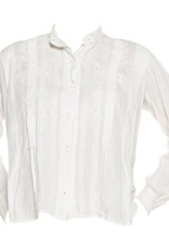 """Wyld Blue Vintage Embroidered White Linen Pin-Tucked """"Men's"""" Style Blouse"""