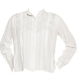 """Wyld Blue Vintage Embroidered White Linen Pin-Tucked """"Mens"""" Style Blouse WLT5ON0152"""