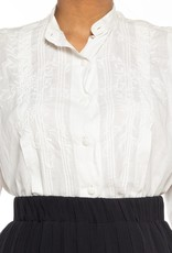 """Wyld Blue Vintage Embroidered White Linen Pin-Tucked """"Men's"""" Style Blouse WLT5ON0152"""