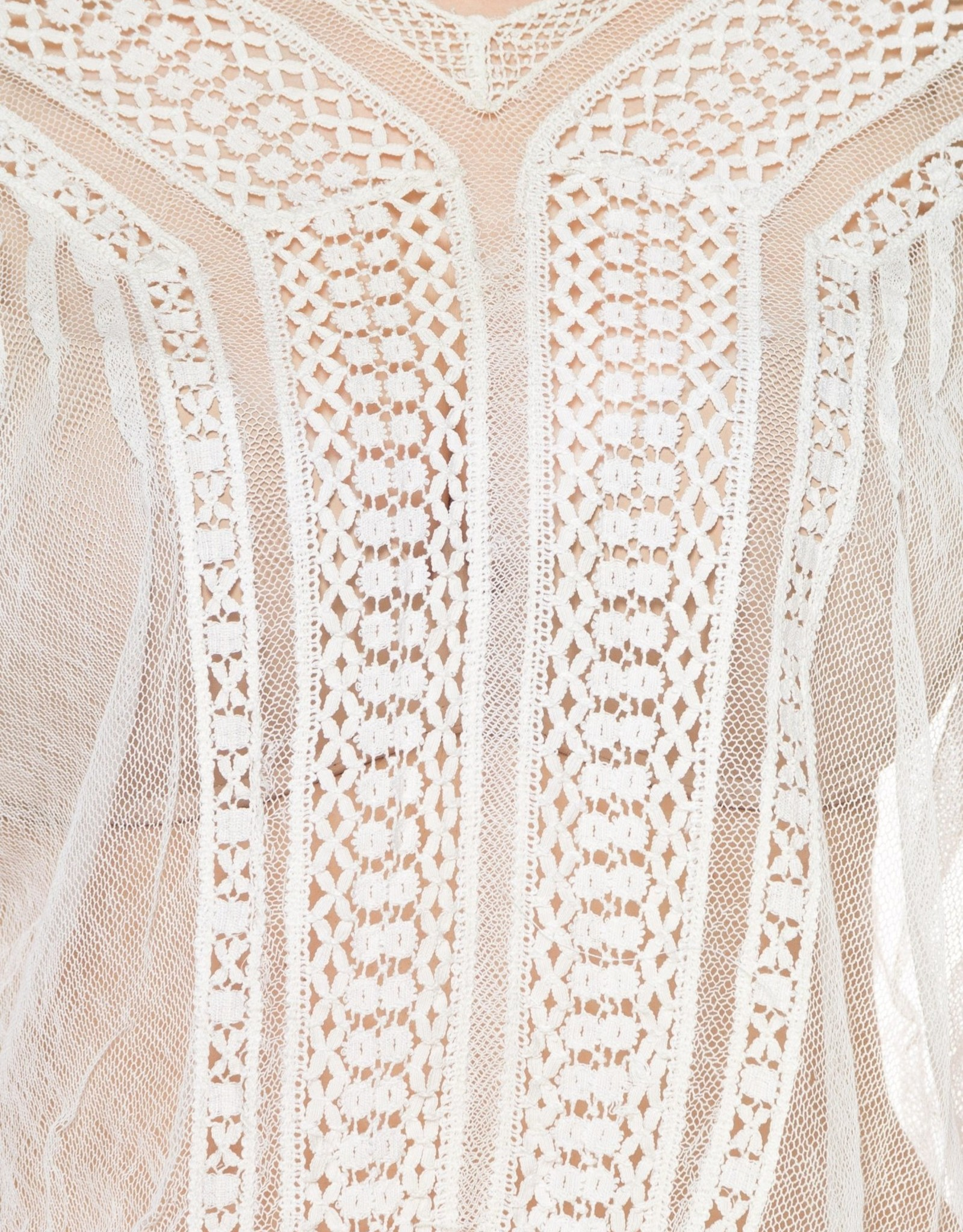 Wyld Blue Vintage 1900s White Sheer Cotton Net Blouse