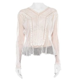 Wyld Blue Vintage 1900s White Sheer Cotton Net Blouse WLT4ON0266