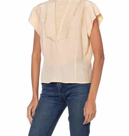 Wyld Blue Vintage 1950s Blush Pink Rayon Crepe de Chine Victorian Revival Short Sleeve Blouse with Lace Details and Fine Buttons T7ON0291