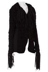Wyld Blue Vintage 1990s Jean Paul Gaultier Dark Grey Wool Crochet Macrame Jacket with Fringe DSMINSJ3ON24