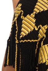 Wyld Blue Vintage 1920s Ethnic Embroidered Crop Vest with Silk and Fringe Details