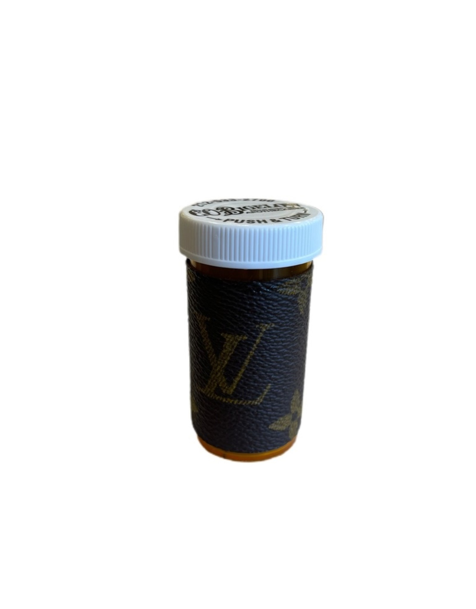 Sarah Coleman Designer Brown Monogram Pill Bottle Small